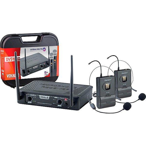 Microfone Sem Fio Headset Duplo DVS100DH VOKAL