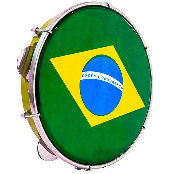 """Pandeiro Luen 10"""" ABS Amarelo com Pele Brasil"""