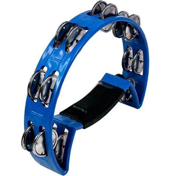 Pandeirola Meia Lua Luen ABS Azul com Pegador
