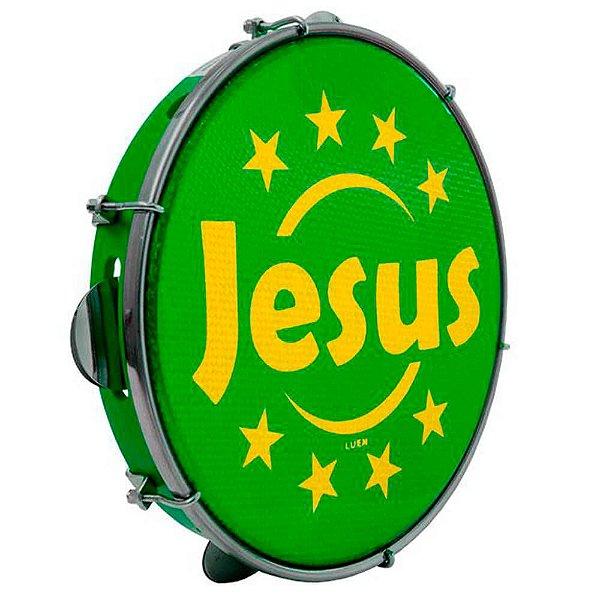"Pandeiro Luen 10"" Aro ABS Verde com Pele Jesus"