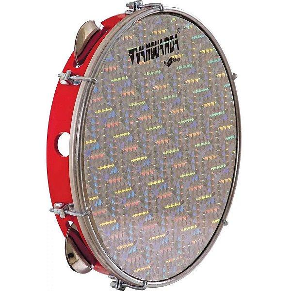 Pandeiro Spanking ABS Vermelho com Pele Holográfica Aro 10