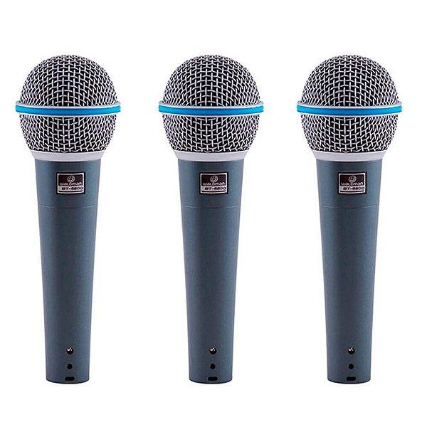 Kit com 3 Microfones Dinâmico Waldman BT-5800 Supercardioide