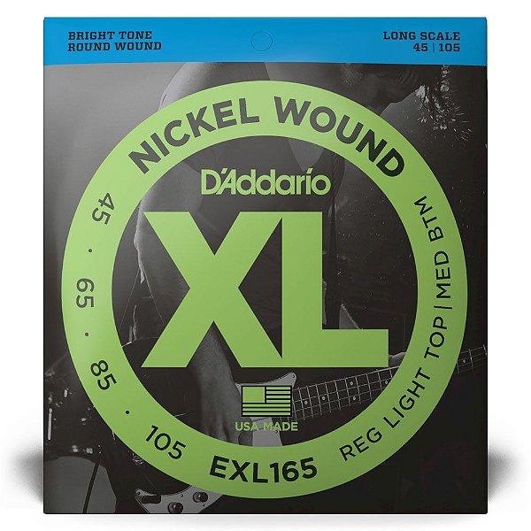 Encordoamento D'Addario EXL165 Baixo 4C .045 XL Nickel Wound