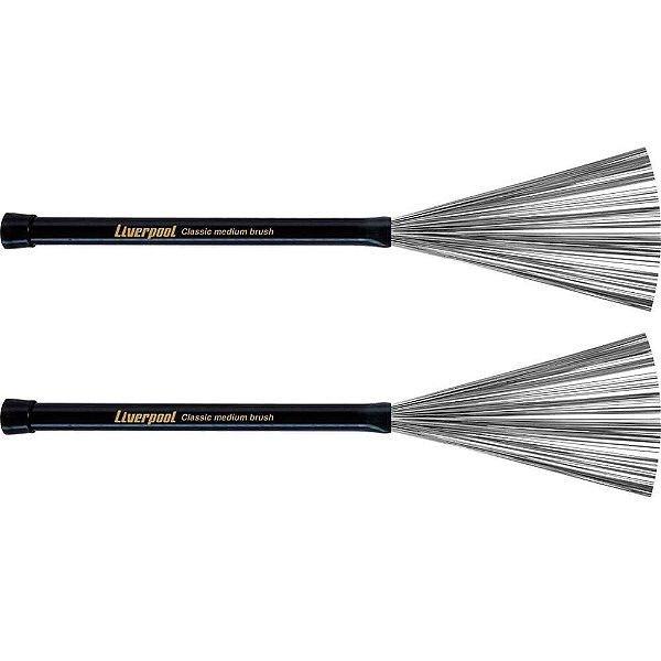 Par de Vassourinha Liverpool VA181 Medium Brush Para Bateria