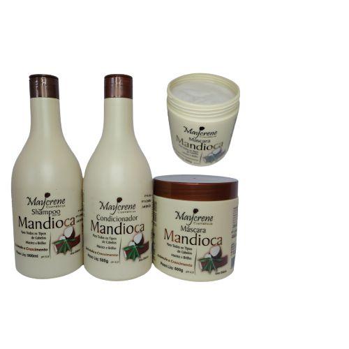 Kit Mandioca 500ML  Shampoo Condicionador Máscara  3 Produtos