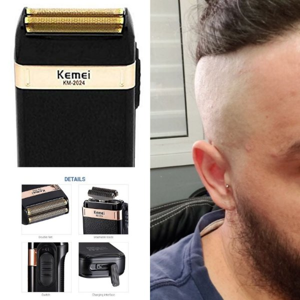 Kemei Shaver 2024 Recarregável Depilador Masculino Barba Cabelo Corpo Original