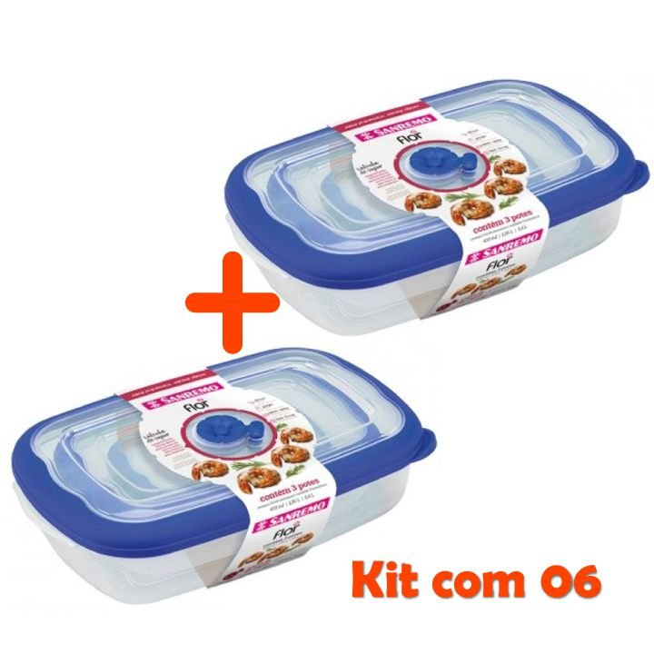 Kit Conjunto 6 Potes Herméticos Tampa Porta Alimentos Geladeira Cozinha Flor - Sanremo