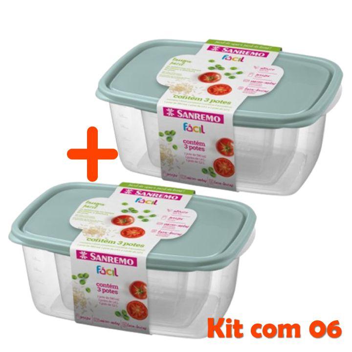 Conjunto 6 Potes Hermético Plástico Alimentos Mantimentos Geladeira - Sanremo