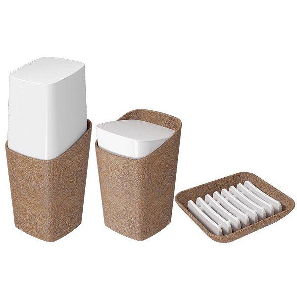 Kit Suporte Escova Dente Creme Dental Porta Algodão Cotonete Saboneteira Banheiro Eco Bios - Coza
