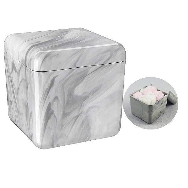 Porta Algodão Cotonete Acessório Pia Organizador Banheiro Cube Mármore - 20879/480 Coza - Marmore