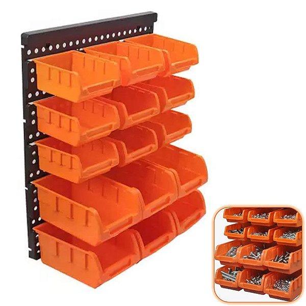 Painel Organizador Porta Parafuso Bucha Prego Componentes 15 Caixas Perfurado Pegboard - A06303 Ajax