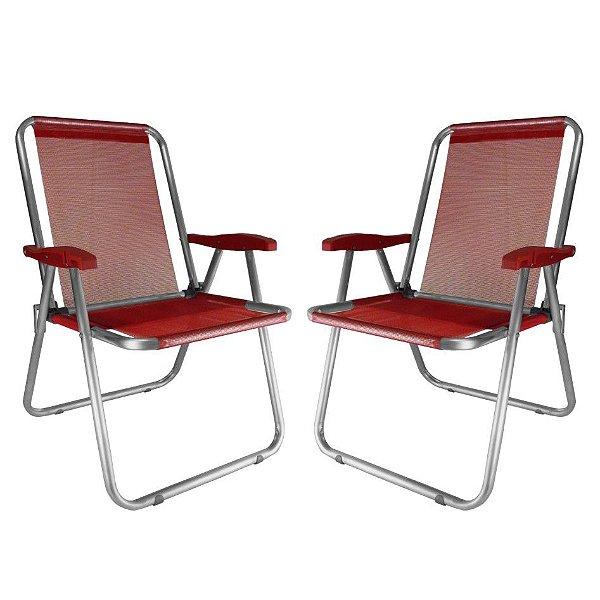 Kit 2 Cadeira Max Alumínio Praia Piscina Camping Até 140 Kg - Zaka - Vermelho