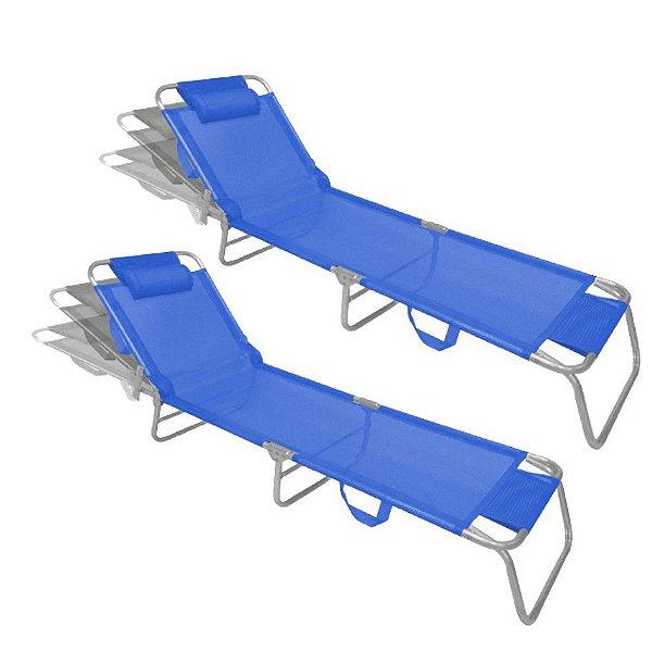 Kit 2 Cadeira Espreguiçadeira Slim Azul Alumínio Ajustável Piscina Praia Jardim - Zaka