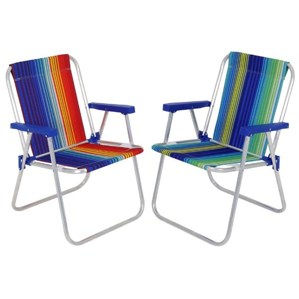 Kit 2 Cadeira Alta Alumínio Praia Camping Piscina Jardim Oxford Sortida -Belfix