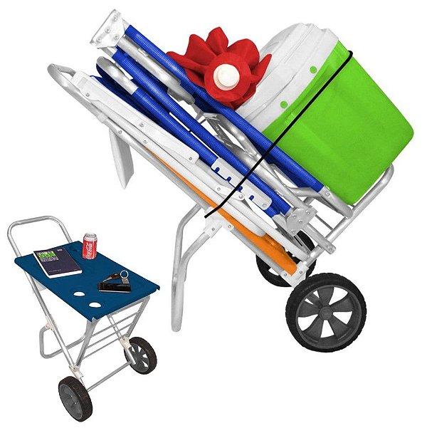Carrinho De Praia Com Avanço E Mesa Para Caixa Térmica Cadeiras Smart Car - Zaka - Azul