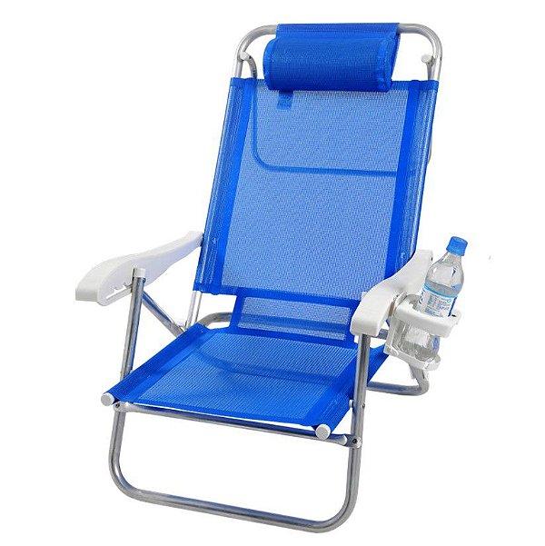 Cadeira Reclinável Top Line 5 Posições Com Almofada E Porta Copos - Zaka - Azul