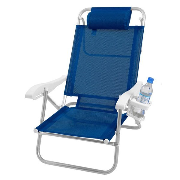Cadeira Reclinável Top Line 5 Posições Com Almofada E Porta Copos - Zaka - Azul Marinho