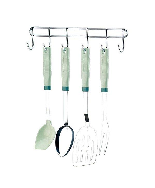 Suporte Cabide com 6 Ganchos para utensílios acessórios cozinha lavanderia 1017 - Future