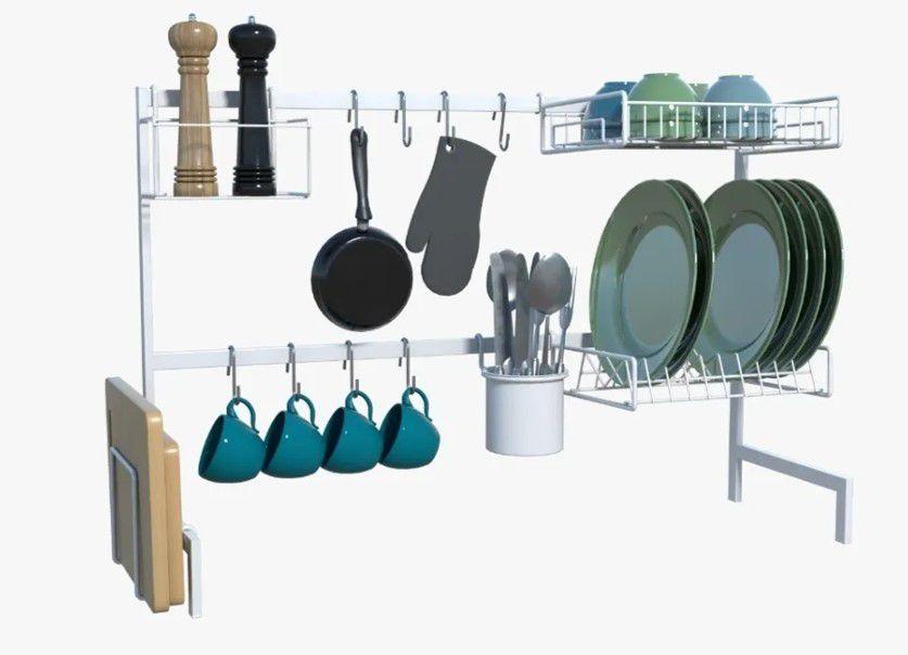 Cozinha Autosustentável Modular 20Pçs Escorredor Ganchos Utensílios Essence Branco - Dicarlo