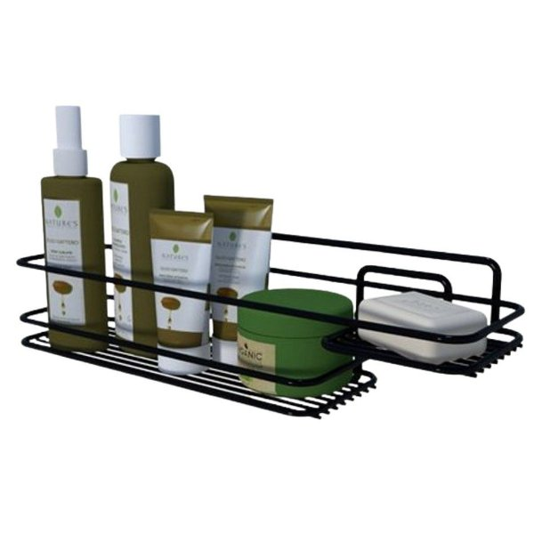 Suporte Porta Shampoo Saboneteira Prateleira Banheiro Parede Preto Boa Dica - Dicarlo