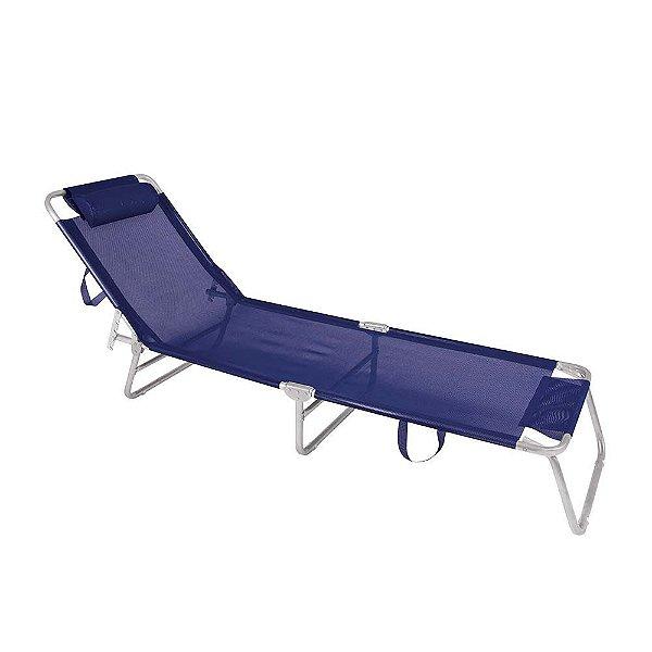 Cadeira Espreguiçadeira Slim Alumínio Azul Marinho Ajustável Piscina Praia - Zaka