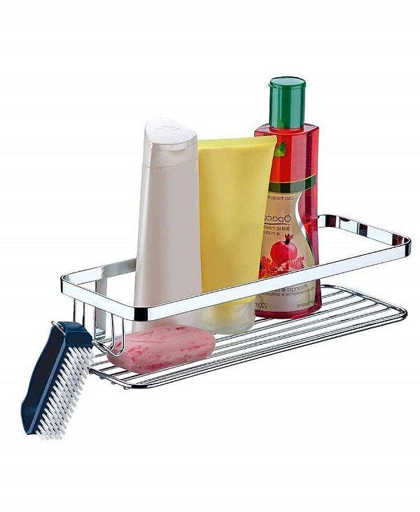 Suporte Porta Shampoo Sabonete C/ Gancho Parede Cromado - 1101 Future
