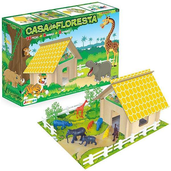 Casa Da Floresta Animais Fazenda Brinquedo Infantil Madeira Mdf - 721 Junges