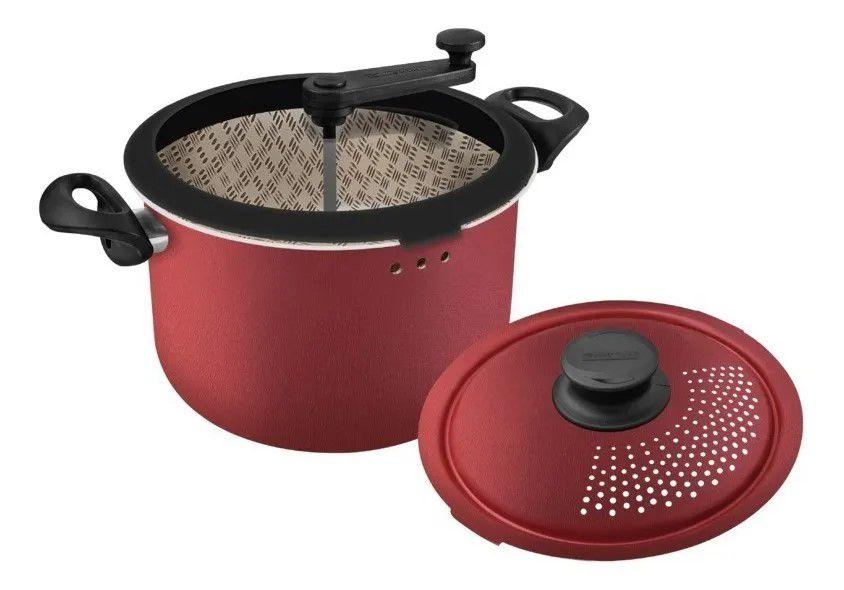 Panela 3 Em 1 Pipoqueira Espagueteira Caldeirão Antiaderente Paris - 20598710 Tramontina - Vermelho