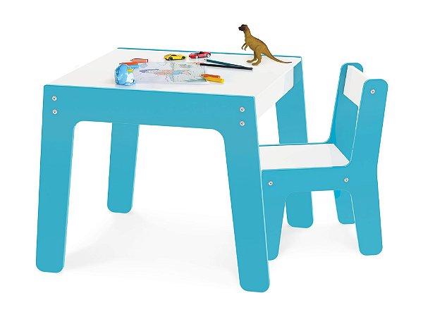 Conjunto Mesa Mesinha + 1 Cadeira Cadeirinha Infantil Mdf - Junges - Azul