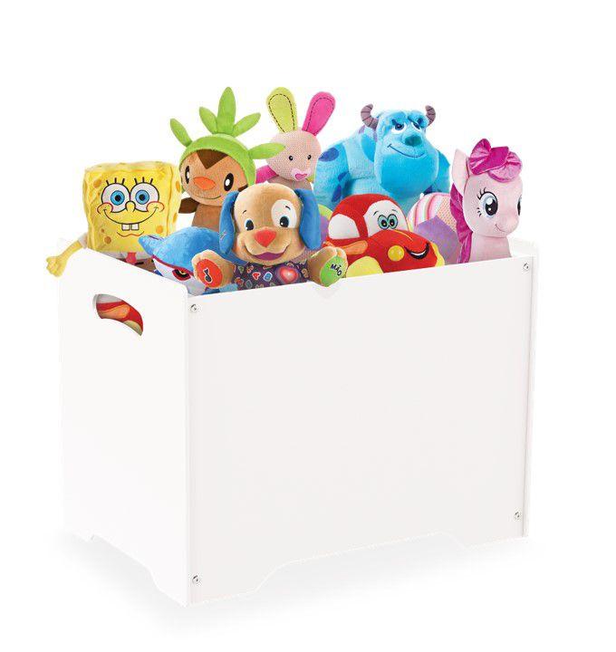 Baú Caixa Organizadora Brinquedos Madeira Mdf Com Tampa Vira Banco - Junges - Branco