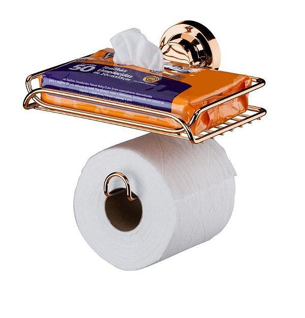 Suporte Papel Higiênico Porta Objetos Com Ventosa Rosé Gold 4052rg - Future
