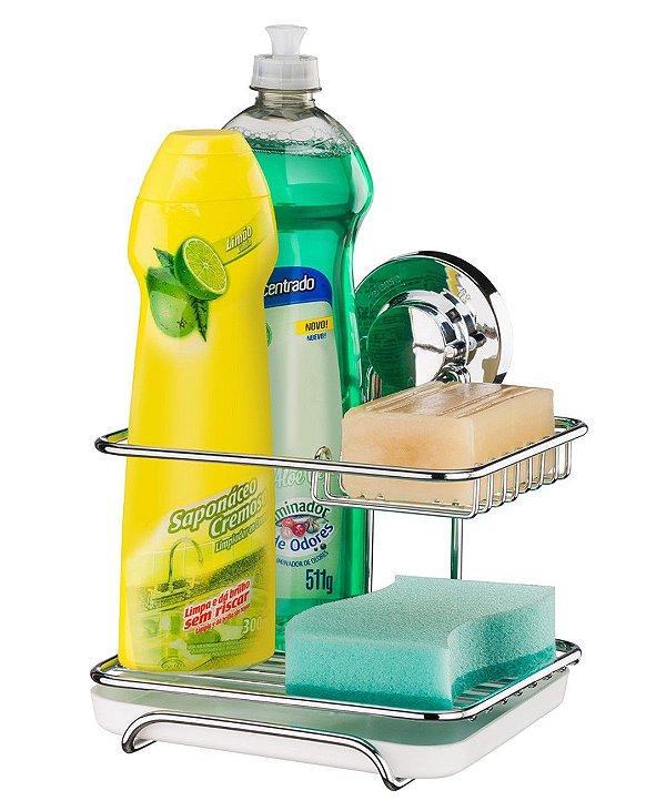 Suporte para Sabão Detergente Esponja com Ventosa Aço Cromado 4017 - Future