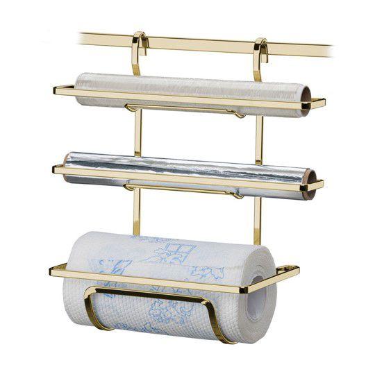 Suporte Porta Rolo Triplo Papel Toalha De Barra Cozinha Dourado Ouro - 2801DD Future
