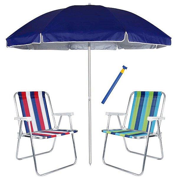 Kit Praia 2 Cadeira Alta Alumínio + Guarda Sol 2,6m Azul Alum + Saca Areia - Mor