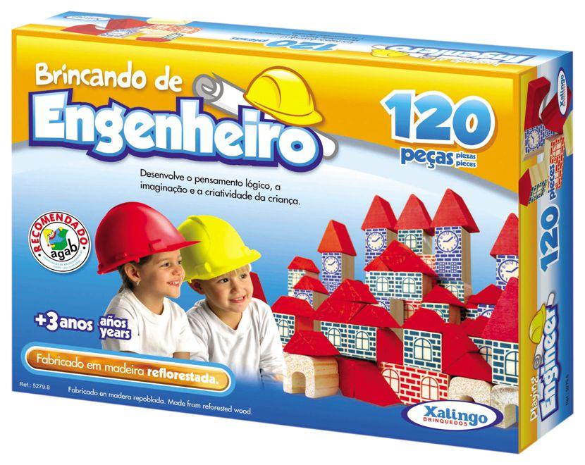 Jogo Brincando De Engenheiro Construir 120 Peças Blocos Madeira - 52798 Xalingo