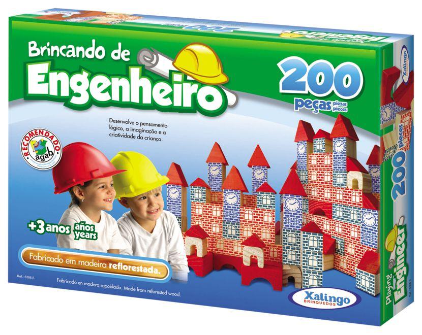 Jogo Brincando De Engenheiro 200 Peças Montar Blocos Madeira - 53065 Xalingo