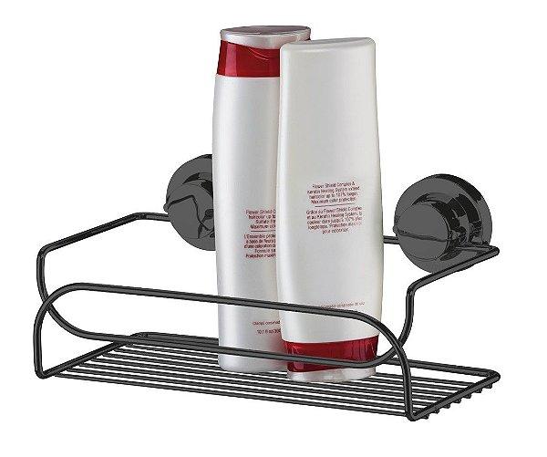Suporte Prateleira Multiuso Porta Shampoo Preto Onix Com Ventosa 4050ox - Future