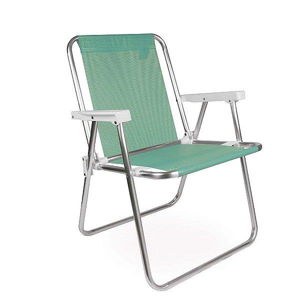 Cadeira Alta Alumínio Sannet Praia Piscina Camping - Mor - Verde