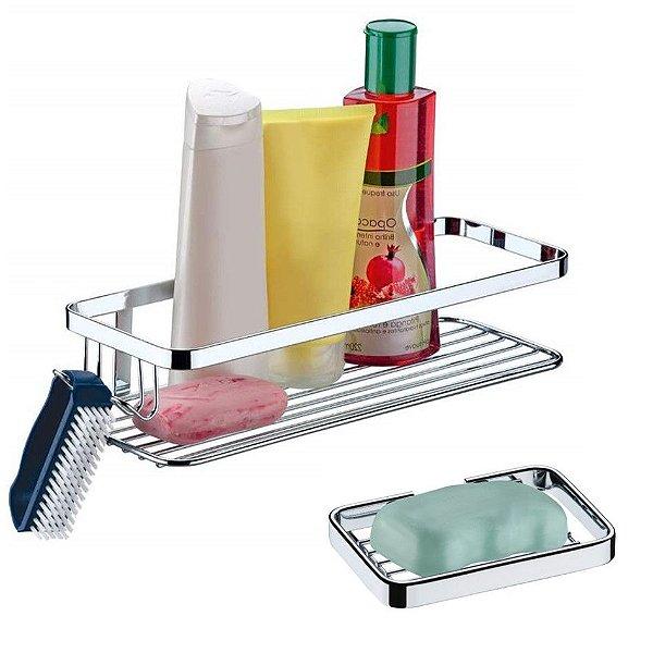 Kit 2 Pçs Banheiro Suporte Porta Shampoo + Saboneteira Cromado - Future