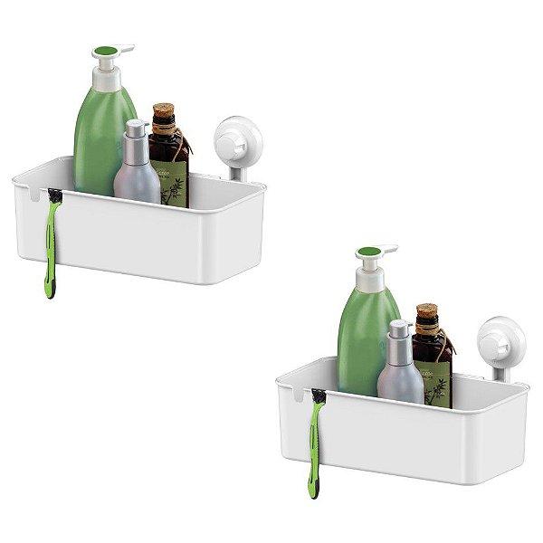 Kit 2 Suporte Porta Shampoo Cesto Parede Com Ventosa - 403BC Branco Future
