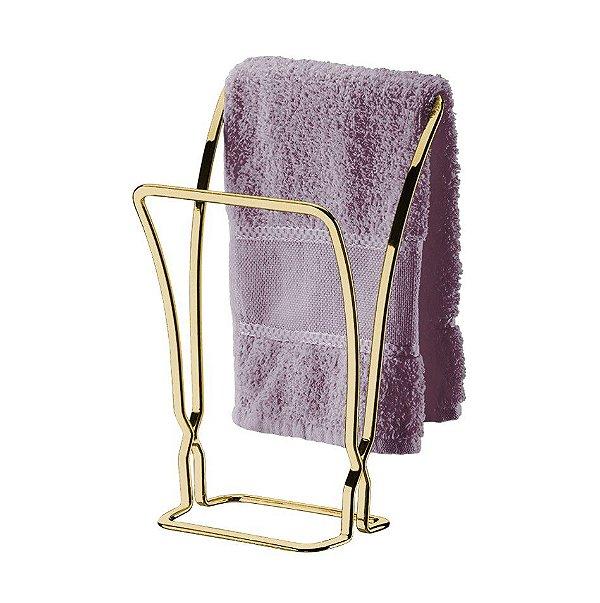 Kit Banheiro Dourado Porta Toalha Duplo + Porta Papel Higiênico Duplo - Future