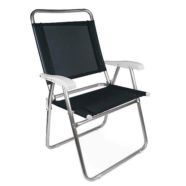 Cadeira Alumínio Praia Encosto Alto Até 120Kg Piscina Camping Master Plus - 2152 Mor - Preto