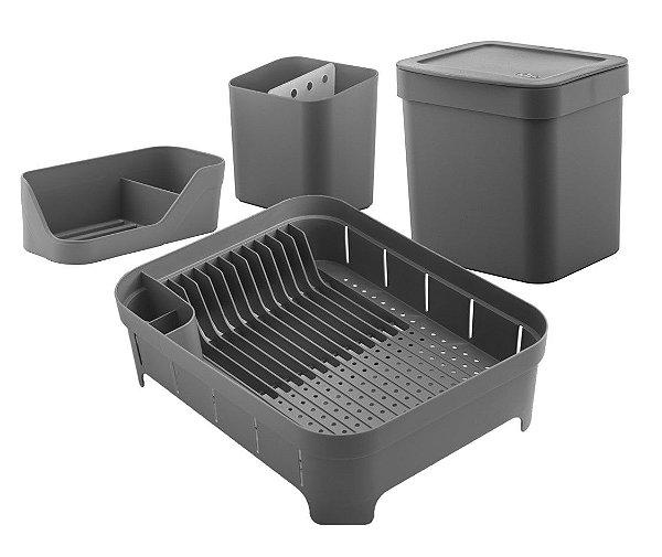 Kit Cozinha Escorredor De Louças Talheres Lixeira 4,7L Organizador De Pia Bancada Chumbo- Ou