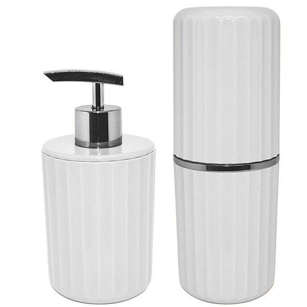 Conjunto Banheiro 2 Peças Portas Escovas + Dispenser Sabonete Líquido Groove Cromado - CBG 815 Ou - Branco