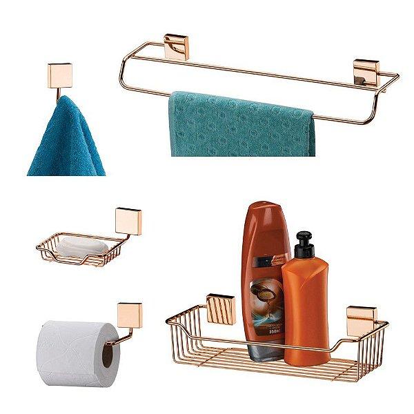 Kit 5 Pçs Banheiro Toalheiro Papeleira Shampoo Saboneteira Gancho -  Rosé Gold - Future