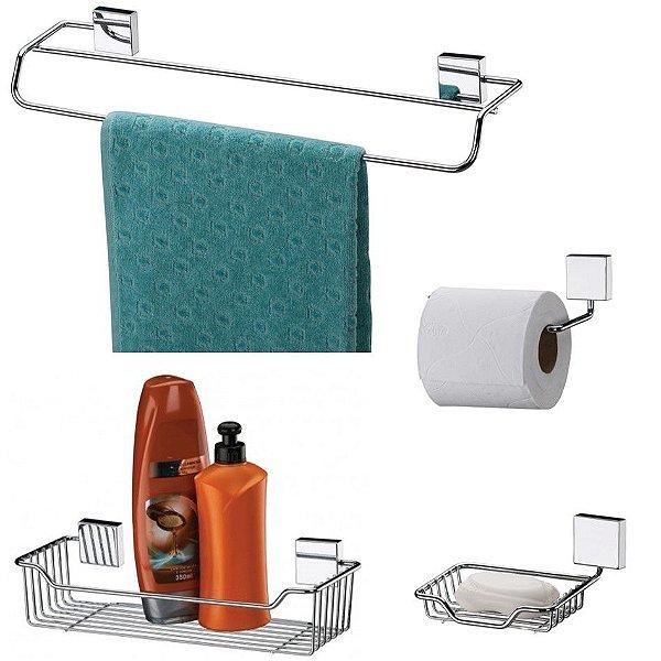 Kit Banheiro Inox Toalheiro + Porta Shampoo + Saboneteira + Suporte Papel Higiênico - Future