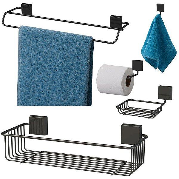 Kit Banheiro Toalheiro + Porta Shampoo + Saboneteira + Papeleira + Gancho Preto Nero - Future