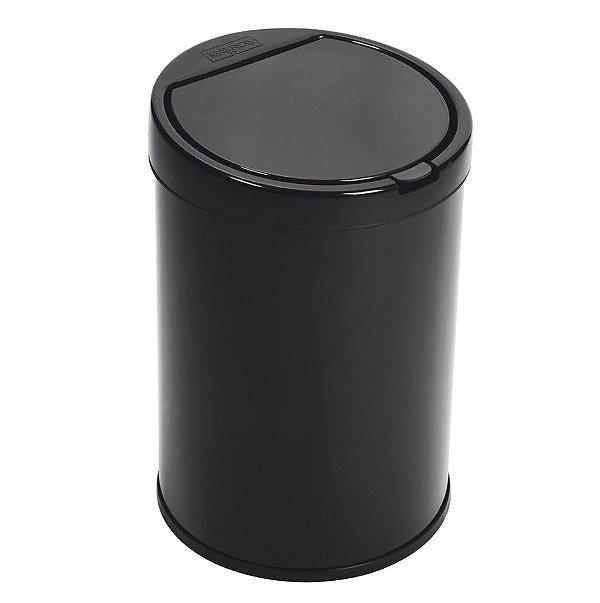 Lixeira 5,5 Litros Aço Pintado Com Balde Tampa Click Pia Cozinha Banheiro - Purimax - Preto