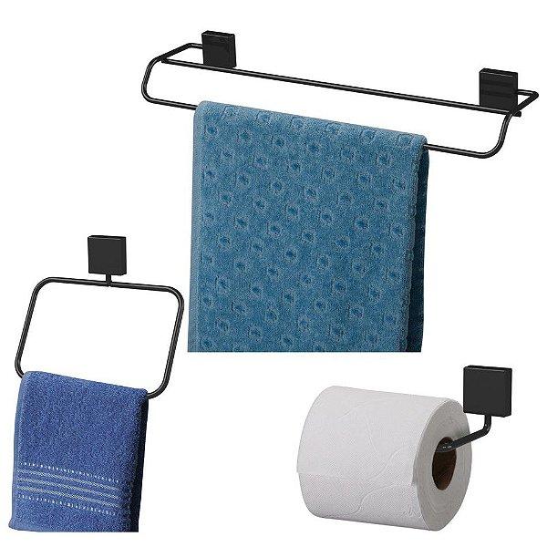Kit Banheiro Toalheiro Duplo 45cm + Argola + Porta Papel Higiênico Preto Nero - Future