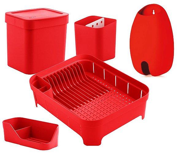 Kit Cozinha Escorredor Louças Talheres Lixeira 4,7L Organizador De Pia Porta Sacolas Vermelho - Ou